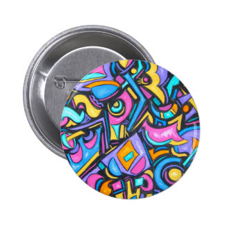 Cute Fun Funky Colorful Bold Whimsical Shapes 6 Cm Round Badge