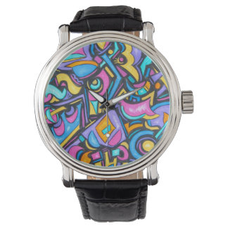 Cute Fun Funky Colorful Bold Whimsical Shapes Watch