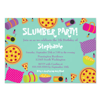 Cute fun girl's birthday slumber party invitation