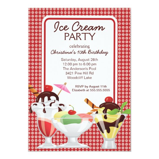 Cute Fun Ice Cream Sundae Birthday Party Card