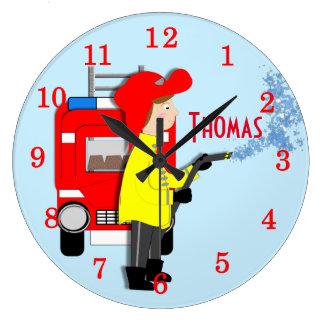 Cute Fun Kids Cartoon Fire-Fighter Truck Themed Wall Clocks