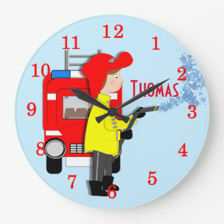 Cute Fun Kids Cartoon Fire-Fighter Truck Themed Large Clock