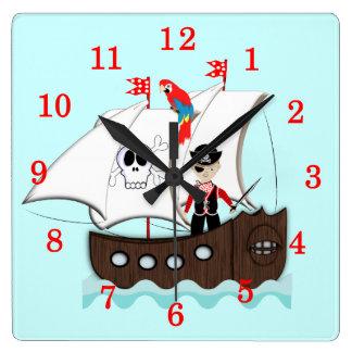 Cute Fun Kids Pirate Theme Picture Clock