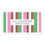 Cute, Fun Pink and Green Striped Fashion Boutique Pack Of Standard Business Cards