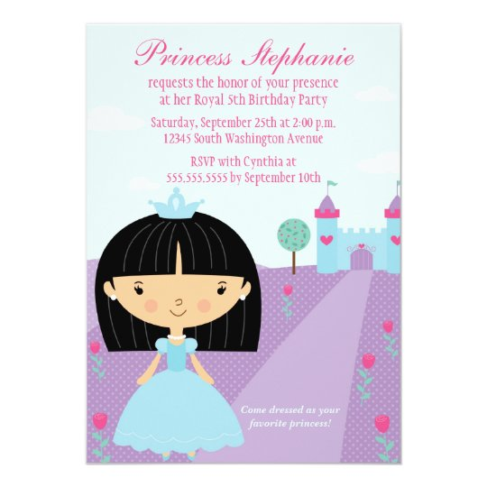 Cute fun princess girl's birthday party invitation