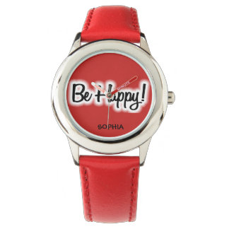 Cute Fun Red Be Happy Personalized Child's Watch