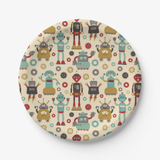 Cute & Fun Retro Robots themed party Paper Plate
