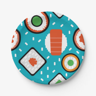 Cute fun seamless pixel sushi cartoon pattern 7 inch paper plate