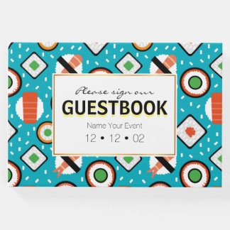 Cute fun seamless pixel sushi cartoon pattern guest book