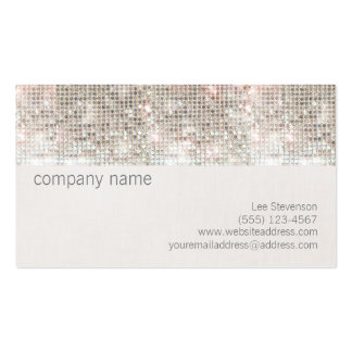 Cute Fun Silver Sparkly Faux Sequin and Linen Pack Of Standard Business Cards