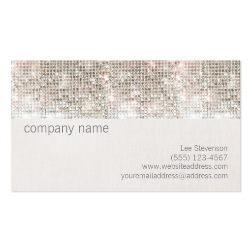 Cute Fun Silver Sparkly Faux Sequin and Linen Business Card