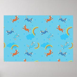 Cute Fun Unicorns rainbow blue cartoon pattern Poster