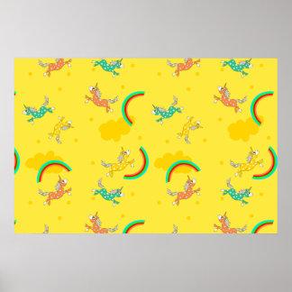 Cute Fun Unicorns rainbow cartoon pattern Poster