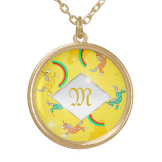 Cute Fun Unicorns rainbow pattern monogram Gold Plated Necklace