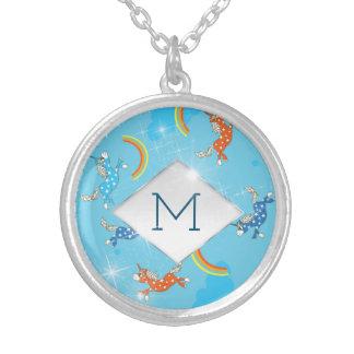 Cute Fun Unicorns rainbow pattern monogram Silver Plated Necklace