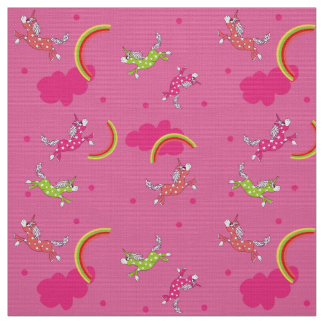 Cute Fun Unicorns rainbow pink cartoon pattern Fabric
