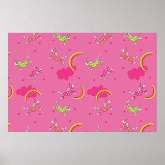 Cute Fun Unicorns rainbow pink cartoon pattern Poster