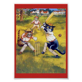 Cute, Fun Vintage Art Cats Playing Cricket Poster