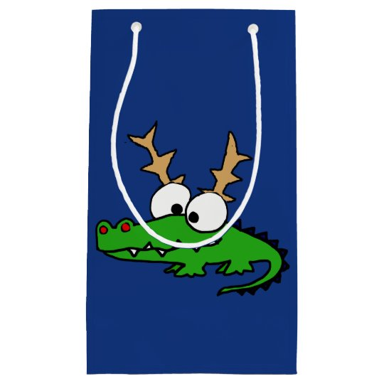 Cute Funky Alligator with Antlers Christmas Art Small