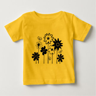 Cute Funky Assorted Flowers With Butterflies Baby T-Shirt