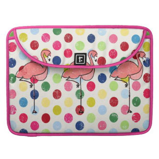 Cute Funky Flamingos Colorful Polka Dots Sleeve For MacBooks