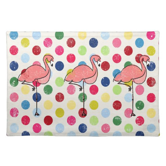Cute Funky Flamingos Colourful Polka Dots Place Mat