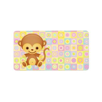 Cute Funky Pattern Monkey Address Label