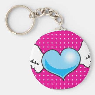 cute funky rockabilly heart with wings key chain