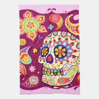 Cute Funky Sugar Skull Art Kitchen Towel