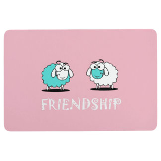 Cute Funky Turquoise White Sheep Friendship Mat