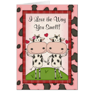 Cute Funny Awkward I Love You Cartoon Cattle Card