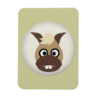 CUTE FUNNY BABY HORSE BROWN CREAM BEIGE FARM CART RECTANGULAR MAGNET
