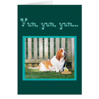 Cute & Funny Basset Hound On Birthday Card w/Cake
