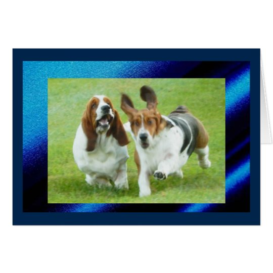 Cute & Funny Birthday Card w/Running Basset Hounds