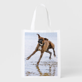 Cute funny boxer dog reusable grocery bag