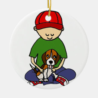 Cute Funny Boy with his Dog Cartoon Christmas Ornament