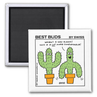 Cute Funny Cactus Best Buds Cartoon Square Magnet