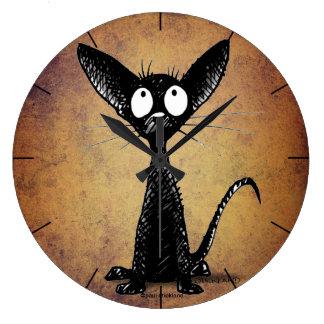 Cute funny cartoon black cat wall clock