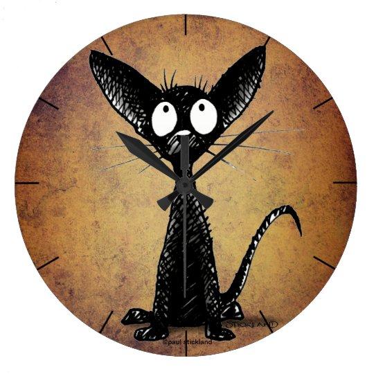 Cute funny cartoon black cat large clock