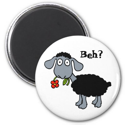 Cute Funny Cartoon Black Sheep Flower Customizable Magnets