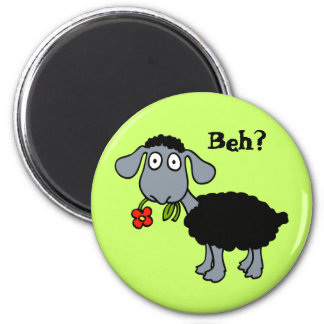 Cute Funny Cartoon Black Sheep with Flower Magnet