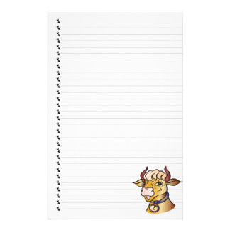 Cute Funny Cartoon Cow Lined Pet Stationery