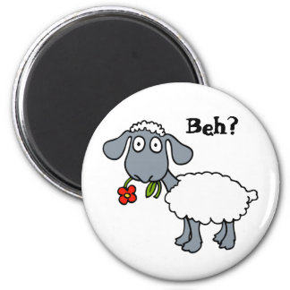 Cute Funny Cartoon Sheep Red Flower Customizable 6 Cm Round Magnet
