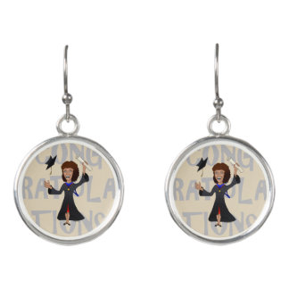 Cute Funny Cartoon Woman Graduate Drop Earrings