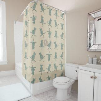 Cute Funny Cats Pattern Mint Cream Beige Shower Curtain