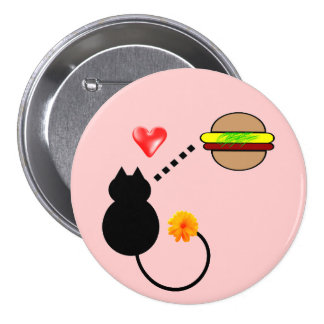 cute funny cheeseburger kitty cat button