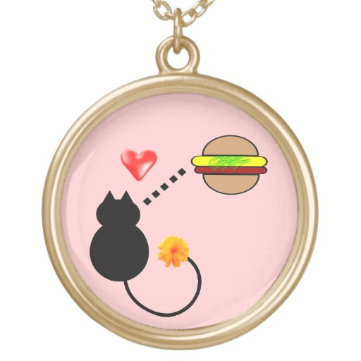 cute funny cheeseburger kitty cat necklace