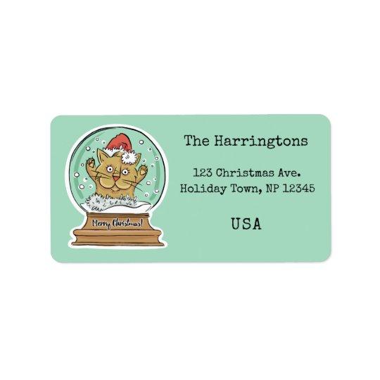 Cute Funny Christmas Cat custom labels