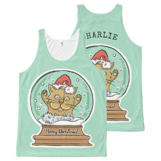Cute Funny Christmas Cat custom name tank top