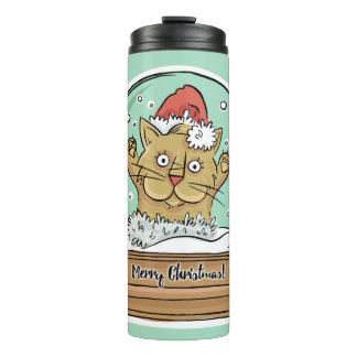 Cute Funny Christmas Cat custom name tumbler